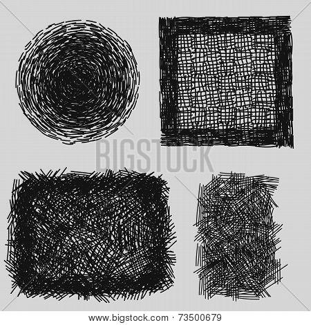 Hand drawn sketches rough hatching grunge texture. vector illustration