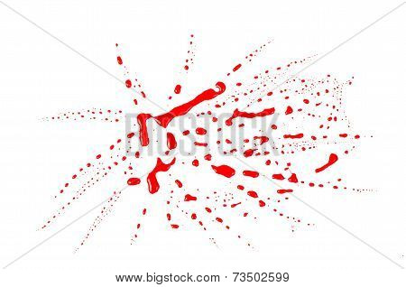 Blood Stains (puddle) Isolated On White Background.paint Color Dripping,