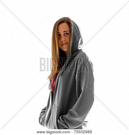Skater With Grey Sweatshirt Over White Background