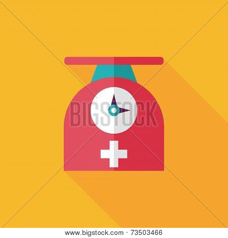 Weight Scales Flat Icon With Long Shadow
