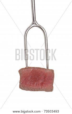 Steak On Fork Isolated.