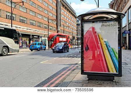 Bus shelter with an advert