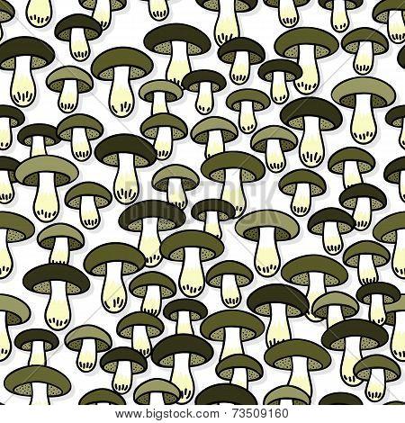 Green gray edible mushrooms autumn seasonal seamless pattern on white