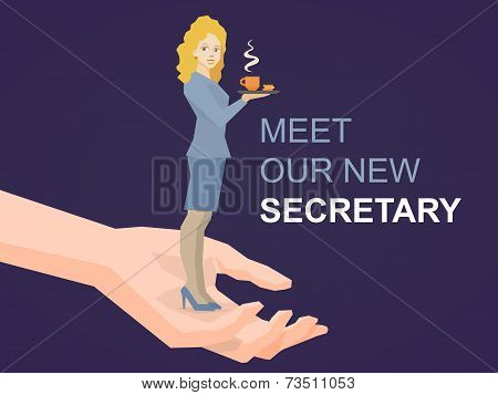 Vector Illustration Of Woman Portrait Secretary With Coffee In Hand Standing On Palm Of The Hand