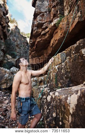 Topless attractive man holding on to his harness and looking up -Rock climbing