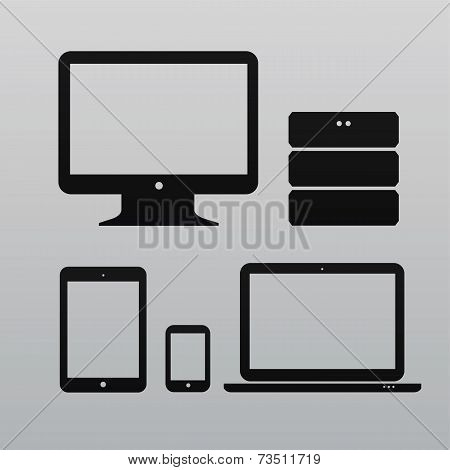 Flat design ui device icons collections on light background