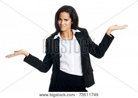 woman confused in business and shrugs her shoulders