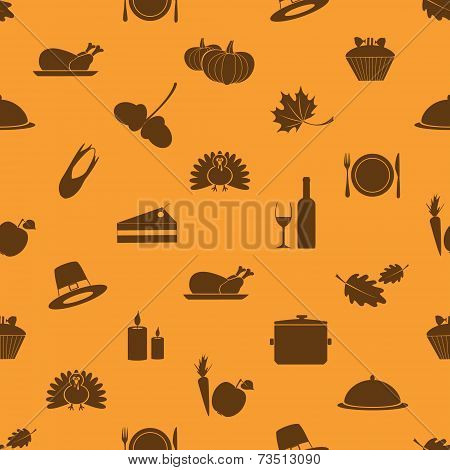 Thanksgiving Icons Set Seamless Autumn Pattern Eps10