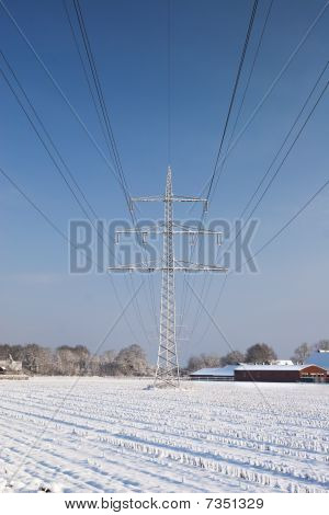 Power Line With Snow.