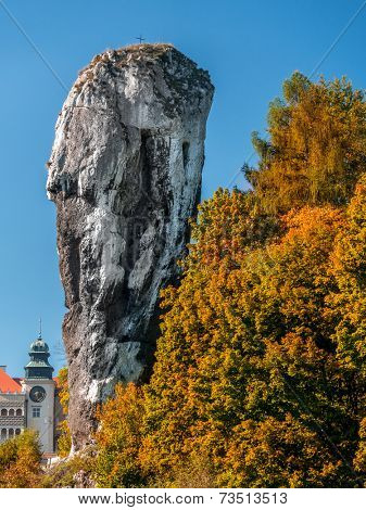 Limestone rock formation called Bludgeon of Hercules or Maczuga Herkulesa Renaissance Castle in Pieskowa Skala in the area of Krakow-Czestochowa Upland, Poland