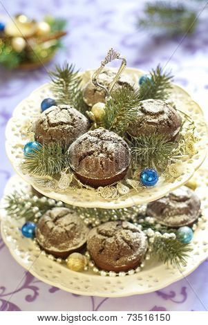 Christmas chocolate cakes