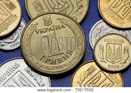 Coins of Ukraine. Ukrainian one hryvnia coin.
