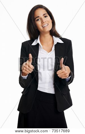 Positive businesswoman with thumbs up and smiling