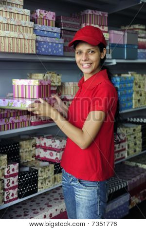 Young Woman Working  In A Store