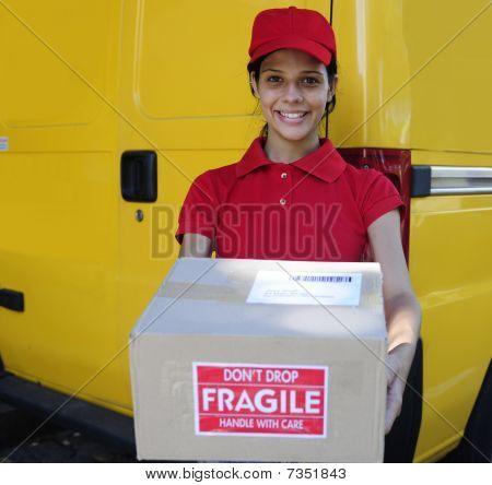 Delivery Courier Or Mailman Delivering Postal Packages