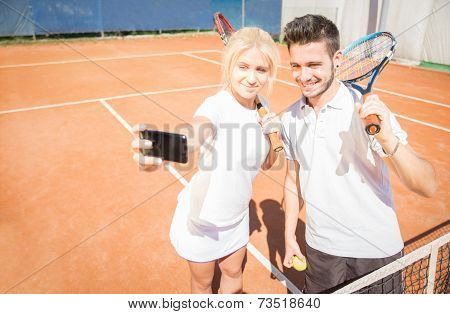 Selfie On A Tennis Court