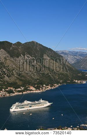 Cruise Ship Near The Town Of Kotor. Montenegro. September 23, 2014