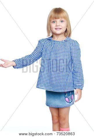 Little girl in a blue suit.