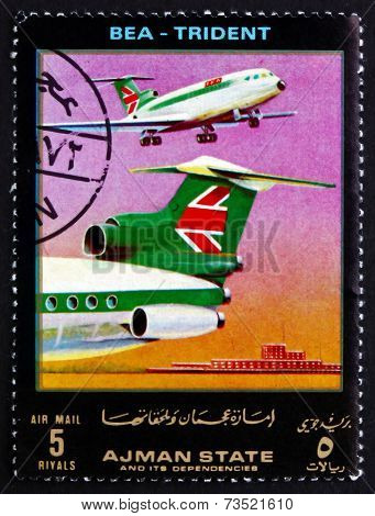Postage Stamp Ajman 1972 Lockheed Trident, Bea, Airliner