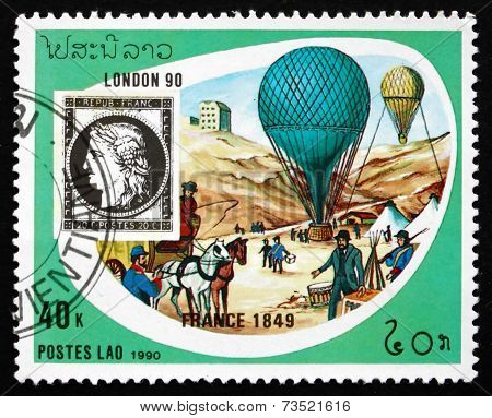 Postage Stamp Laos 1990 Balloons, 1849