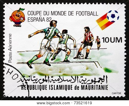 Postage Stamp Mauritania 1982 Soccer Players In Action