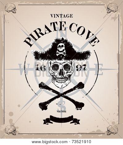 Vintage vector pirates skull frame background