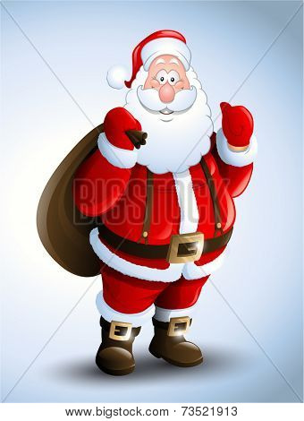 Cartoon Santa Claus smiling red christmas background