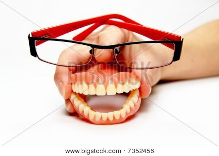 Smiling Denture With Glasses