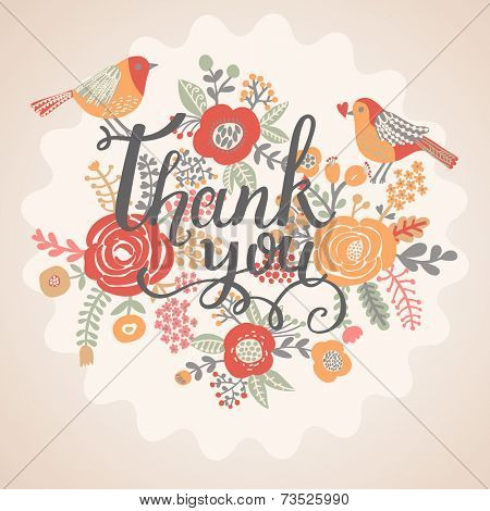 Thank you card in bright colors. Stylish floral background with text and cute cartoon birds in vintage style. Thank You Print Design