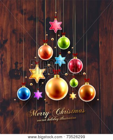 Christmas Balls and Stars. Xmas Decorations. Wood Texture Background. Golden Holiday Decorations Vector.