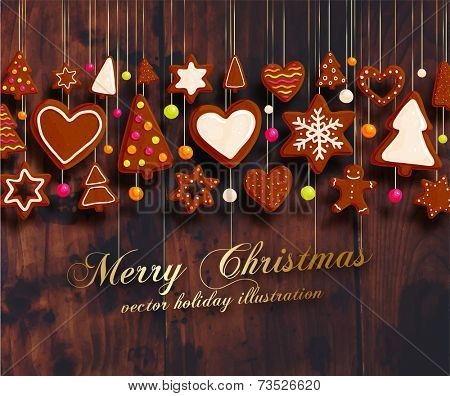 Hanging Gingerbread Man Christmas Cookies for Xmas Decoration. Heart, Star, Christmas Tree and Cinnamon Xmas Cookies. Wood Texture Background. Holiday Design. Vector.