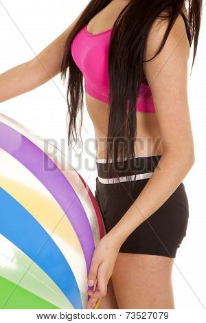Woman Black And Pink Fitness Body Ball