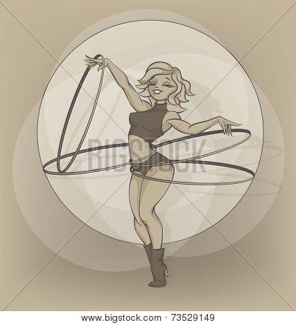 Pinup circus artist. silhouette, inkpen. hooper