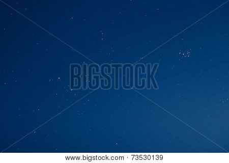 Blue night sky with real stars