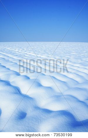 Field covered in snow on a sunny winter day