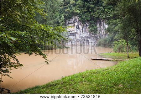 Muddy Water River Flowing In The Wood