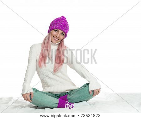Happy woman in winter outerwear