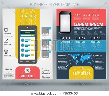 Vector business flyer brochure with absract background and mobile phone