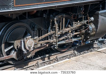 Drive gear of old steam locomotive