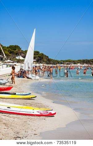 Ibiza Cala De Sant Vicent August  20, 2013: Caleta De San Vicente Beach Turquoise Water