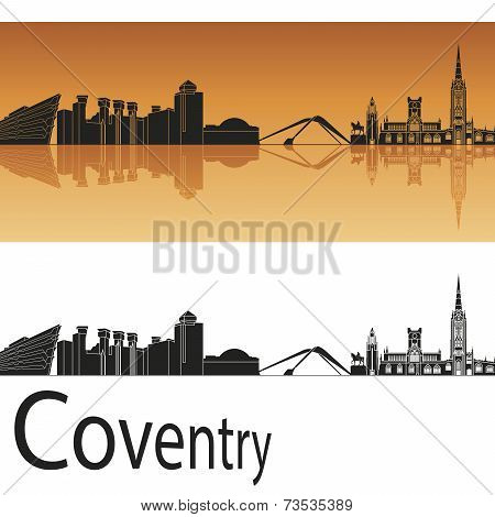 Coventry Skyline In Orange Background