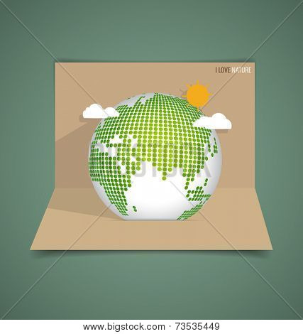 Pop up card with Green Eco Earth. Vector illustration.