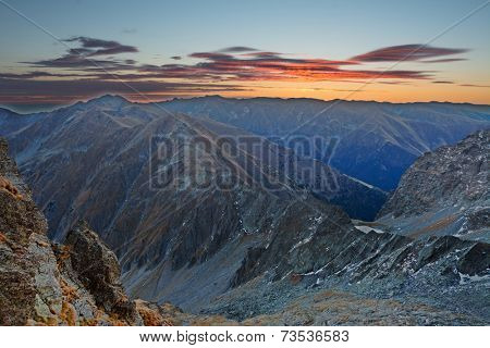 Sunrise light in the Transylvanian Alps, Romania, Europe