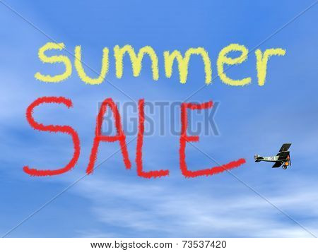 Summer sale message from biplan smoke - 3D render