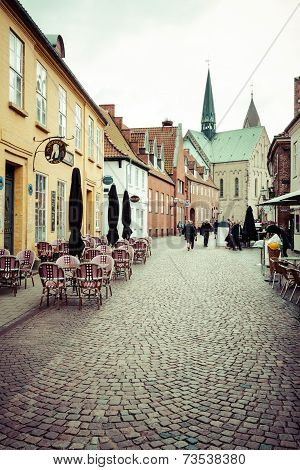 Ribe,Denmark,19,March 2013:Empty Morning Street With Old Houses From Royal Town Ribe In Denmark
