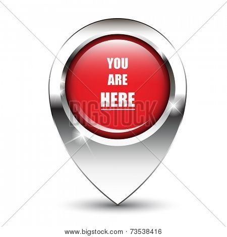 You are here message on glossy map pin, against white background with shadow.