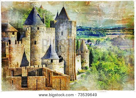 medieval castle Carcassonne, France, artisric picture