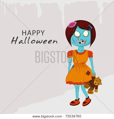 Horrible ghost holding a toy with text Happy Halloween on stylish background.