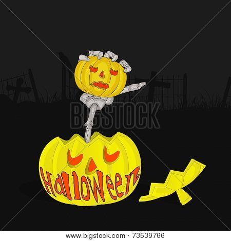 Horrible hand of vampire holding a pumpkin with stylish Halloween text in night scene.