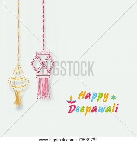 Illustration of hanging colorful lamps with small lit lamp and stylish text for poster.